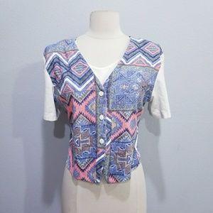 Vintage 80's retro Southwestern crop top shirt
